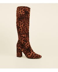 78f9332fdbe New Look Stone Leopard Print Suedette Western Ankle Boots in Brown ...