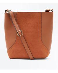 New Look - Tan Suedette Panel Bucket Bag - Lyst