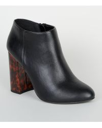 bd48cfbf29e New Look - Wide Fit Black Faux Tortoiseshell Flared Heel Boots - Lyst
