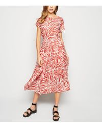 New Look White Zebra Print Pleated Midi Dress