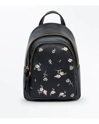 New Look - Black Floral Embroidered Mini Backpack - Lyst