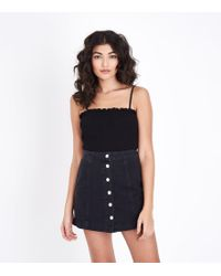 New Look   Black Square Neck Shirred Cami   Lyst
