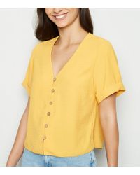 0fa22ccd031ed8 New Look Petite Mustard Button Front Boxy Shirt in Yellow - Lyst