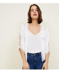 New Look - White Floral Embroidered Crochet Trim Kimono - Lyst