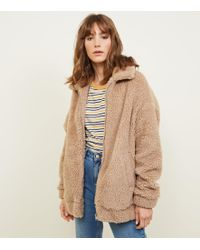 New Look - Cream Faux Teddy Fur Bomber Jacket - Lyst