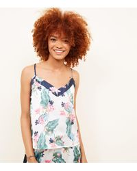 New Look - Soraya Tall Off White Floral Leaf Print Satin Pyjama Cami - Lyst