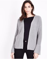 Apricot Dark Grey Ribbed Waterfall Cardigan in Gray | Lyst