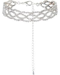 New Look - Silver Diamante Bracelet - Lyst