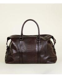 New Look - Dark Brown Faux Croc Holdall - Lyst