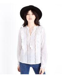 New Look - White Tassel Front Broderie Blouse - Lyst