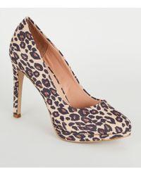 7647c4341481 New Look Wide Fit Leopard Print Suedette Court Heels in Brown - Lyst