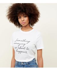 New Look - White Something Amazing Slogan T-shirt - Lyst