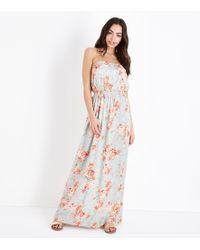 New Look - Grey Floral Bandeau Maxi Dress - Lyst