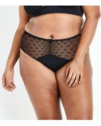 New Look - Curves Black Spot Mesh Brazilian Briefs - Lyst
