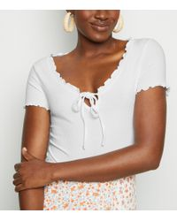 New Look - White Frill Trim Milkmaid Bodysuit - Lyst