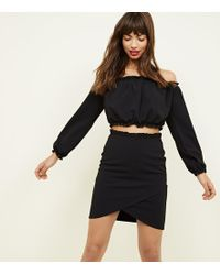 New Look - Black Wrap Front Mini Skirt - Lyst