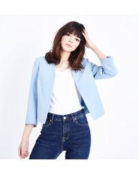 New Look - Pale Blue Cropped Lightweight Blazer - Lyst