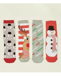 New Look - 4 Pack Red Glitter Rudolph & Friends Christmas Socks - Lyst