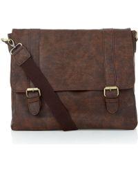 New Look - Brown Leather-look Satchel - Lyst