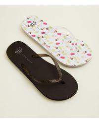 498628456fdde New Look - Girls 2 Pack Black And Ice Cream Print Flip Flops - Lyst