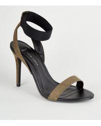 80a580535d26 New Look - Wide Fit Khaki Elastic Strap Stilettos - Lyst