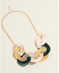 New Look - Green Linked Resin Necklace - Lyst