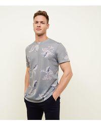New Look - Green Leaf Print T-shirt - Lyst