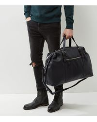 New Look - Black Leather-look Holdall - Lyst