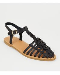 6f1632b53 New Look - Black Leather-look T-bar Caged Sandals - Lyst