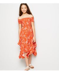 5cc092fe06a7 New Look Girls Pink Tropical Print Hanky Hem Bardot Dress in Pink - Lyst
