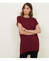 New Look - Burgundy Longline T-shirt - Lyst