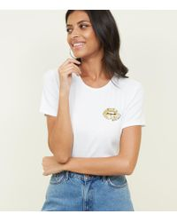 New Look - White Sequin Gold Lips T-shirt - Lyst