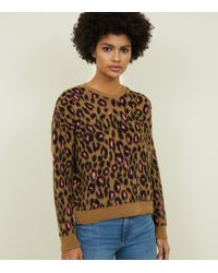 f559054e2d6d59 New Look - Brown Brushed Neon Leopard Print Jumper - Lyst