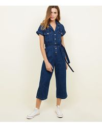 557d23a614 New Look - Blue Rinse Wash Denim Culotte Jumpsuit - Lyst