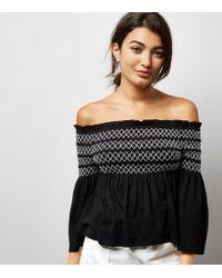 New Look   Black Contrast Shirred Panel Bardot Neck Top   Lyst