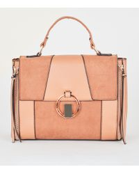 New Look - Tan Mixed Panel Ring Front Satchel Bag - Lyst