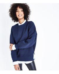 New Look - Navy Slouchy Side Split Sweatshirt - Lyst