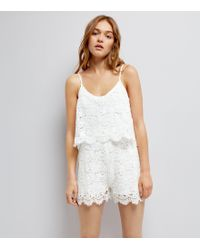 Urban Bliss - Urban Bliss White Lace Playsuit - Lyst