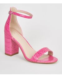 aefdc93dbcd New Look Teens Pink Suedette Block Heeled Sandals in Pink - Lyst