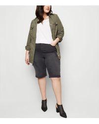 New Look - Curves Black Ripped Knee Length Denim Shorts - Lyst