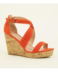74b39862a61b New Look Tan Suedette Cross Strap Platform Wedges in Brown - Lyst