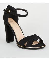 95cf6e259a New Look Wide Fit Black Suedette Cross Strap Platform Heels in Black - Lyst