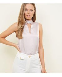 5f3886f162ec1 New Look Pale Pink High Shine Square Neck Bodysuit in Pink - Lyst