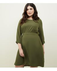 New Look - Curves Khaki Crepe Belted Tunic Dress - Lyst