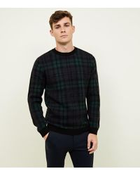 New Look - Navy Check Crew Neck Knitted Jumper - Lyst