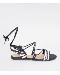 40f76a539b9e New Look - Black Zebra Print Ankle Tie Ghillie Sandals - Lyst