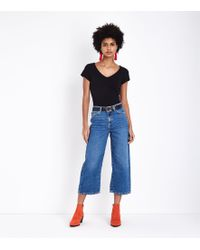 New Look - Blue Cropped Wide Leg Jeans - Lyst