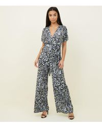 717f01b41f6 New Look Light Grey Floral Print Wrap Front Jumpsuit in Gray - Lyst