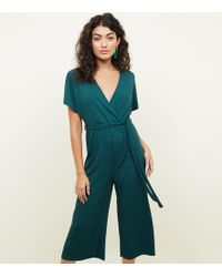 New Look - Dark Green Ribbed Wrap Front Culotte Jumpsuit - Lyst