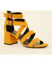 61b7418f978 New Look Wide Fit Mustard Suedette Square Toe Heeled Sandals in ...
